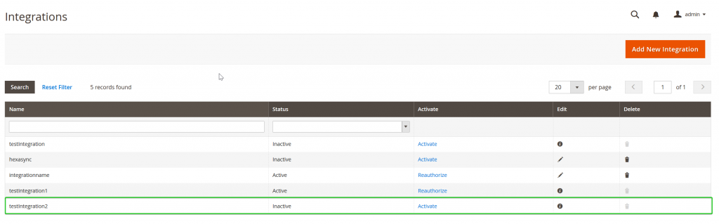 available integration magento