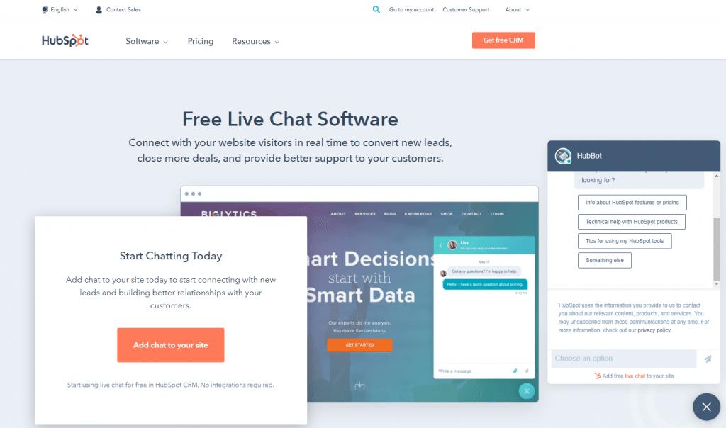 hubspot livechat interface