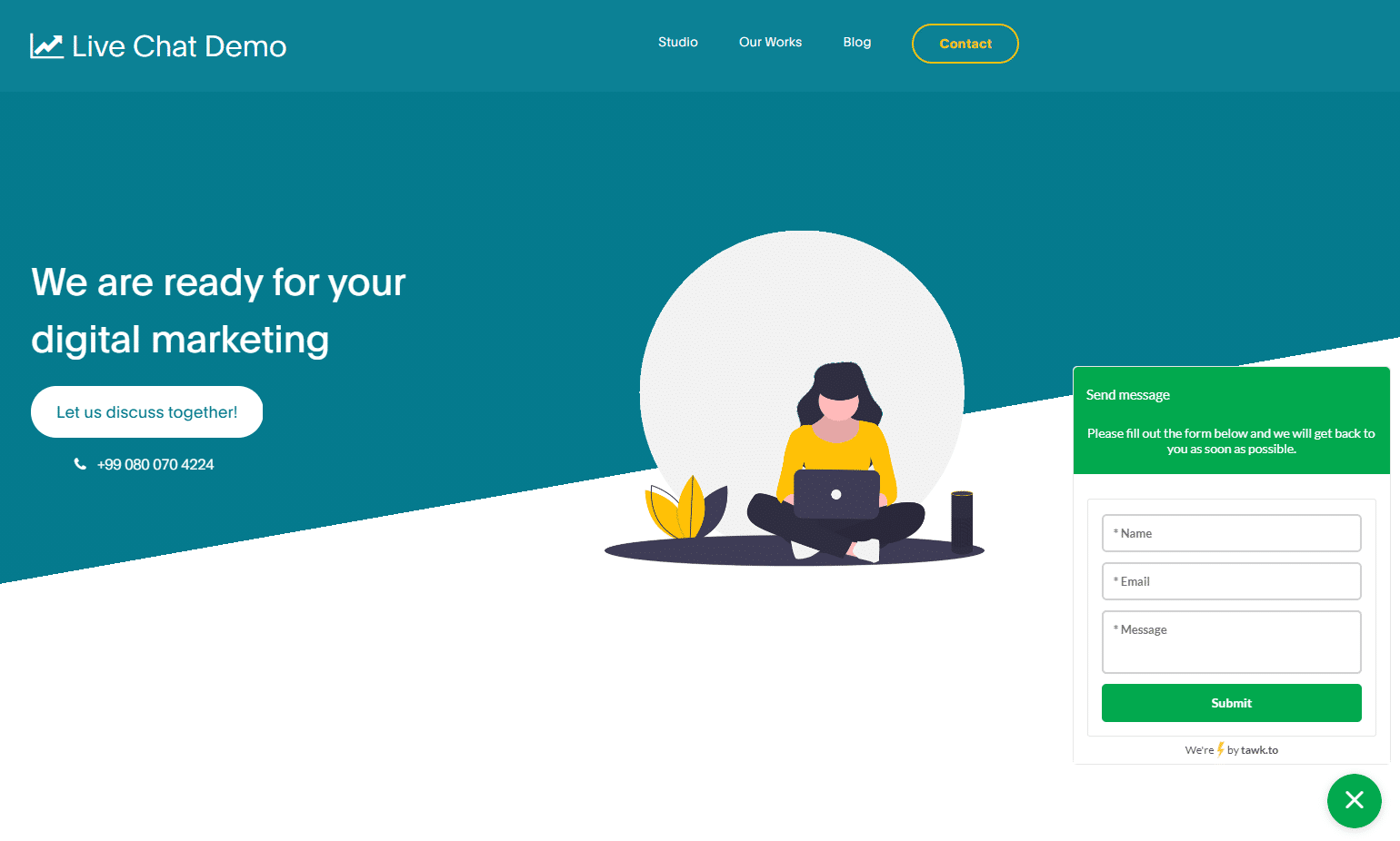 Tawk.to live chat interface