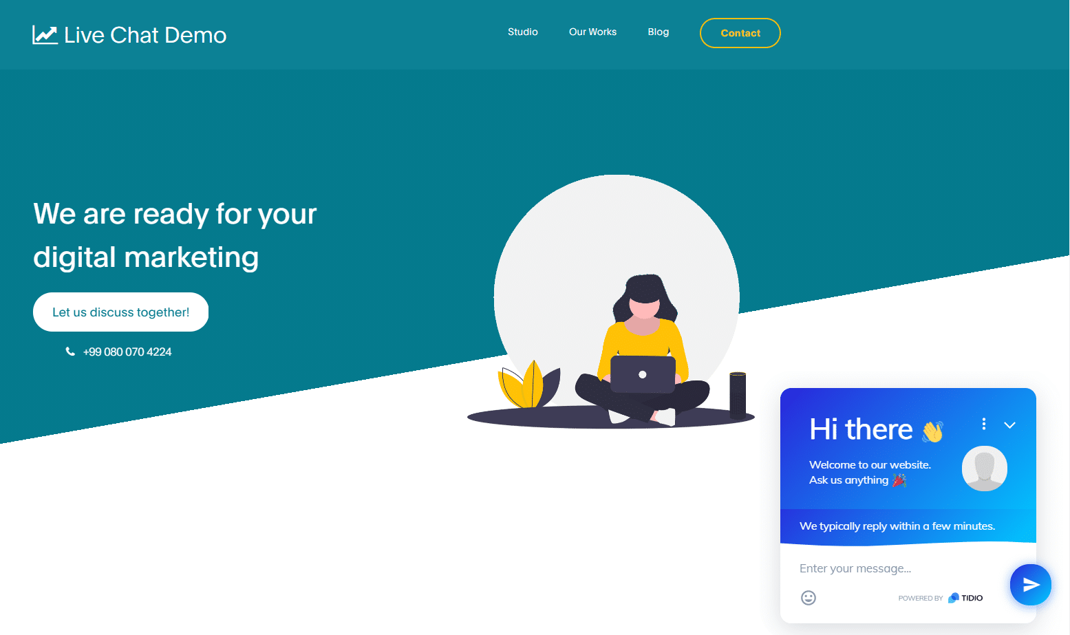 Tidio live chat interface