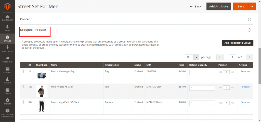 add selected products in magento 2 dashboard