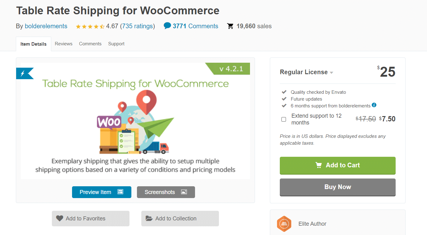 Table Rate Shipping for WooCommerce extension