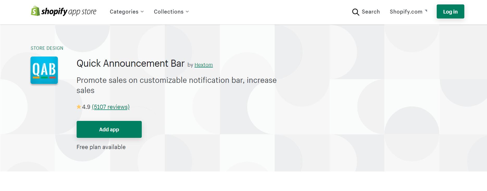 quick announcement bar