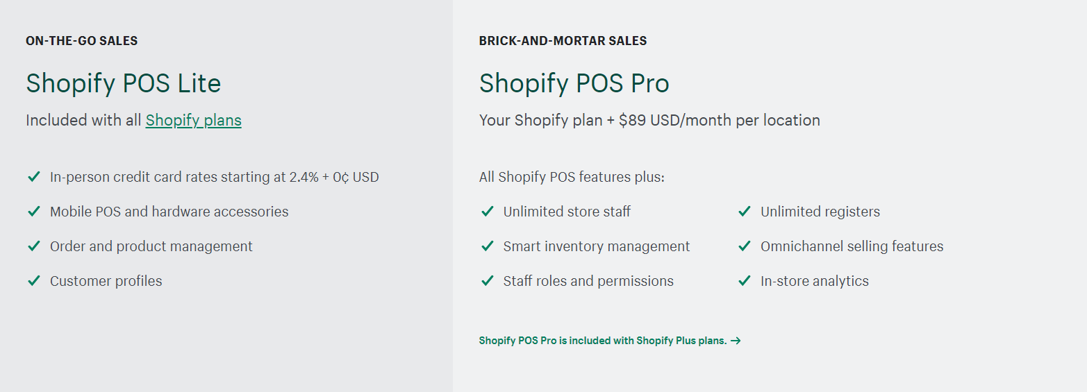 shopify pos features